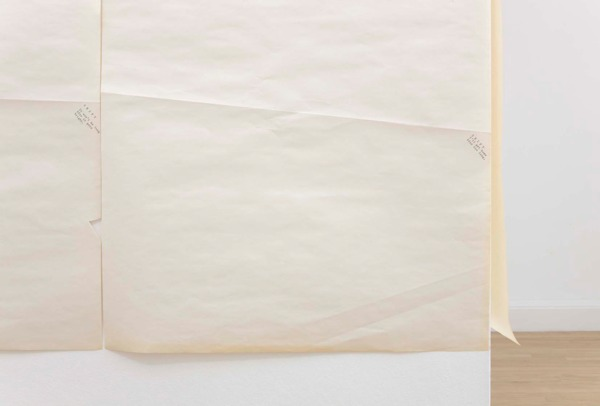 Sue Tompkins, Untitled, 2011, Plastic bag strips, typewritten text on newsprint, Dimensions variable, Installation view, Inverleith House, Edinburgh, 2011