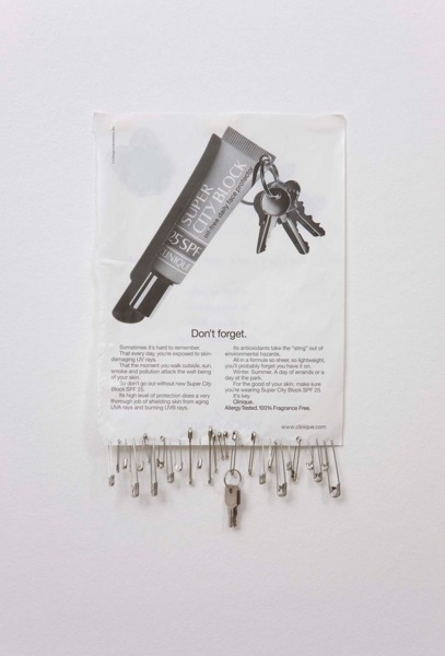 Sue Tompkins, Untitled, 2011, Magazine page, safety pins, keys, 34.5 x 21cm
