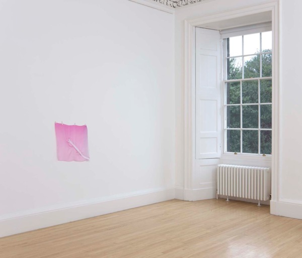 Sue Tompkins, Untitled, 2011, Chiffon, safety pins, zip, 54.5 x 59 cm