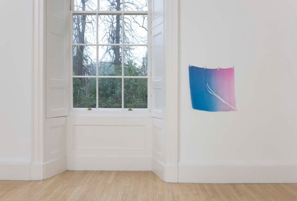 Sue Tompkins, Untitled, 2011, Chiffon, safety pins, zip, 55 x 59 cm , Installation view, Inverleith House, Edinburgh, 2011