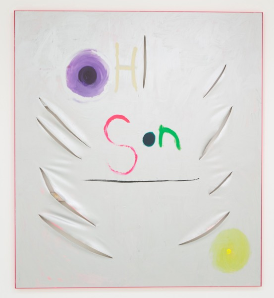Sue Tompkins, Oh son, 2014, Acrylic on canvas in painted steel frame, 200 x 180 x 3.7 cm