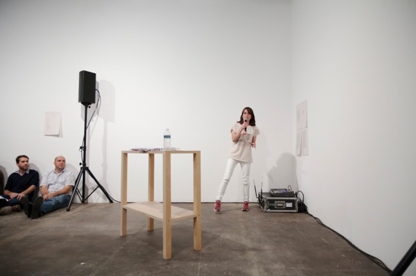 Sue Tompkins, LL Bedrock, 2012, Live performance, Duration: 30 min, Performed at 'Its chiming in Normaltown', Midway Contemporary Art, Minneapolis, 2012