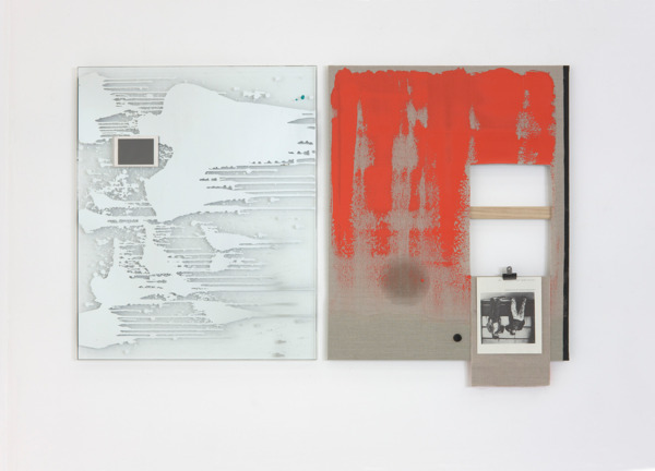 Michael Wilkinson, Like Trousers, 2011, Etched mirror mounted on perspex, verdigris in beeswax, cellophane card and image from Guy Debord's Panegyric.(Left), Linen, acrylic, verdigris, oil, blackboard paint, bulldog clip, image from Greil Marcus' Lipstick Traces (Right), Two parts, 90 x 70 cm each