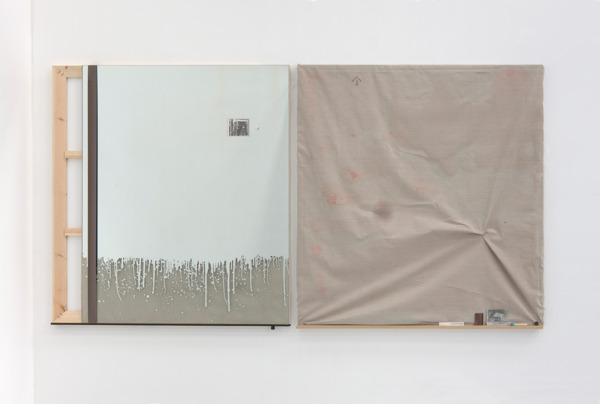 Michael Wilkinson, (b) WOOD BEEZ, 2011, Etched mirror, wooden frame, linen, oil, blackboard paint, painted badge, ferrule, cardboard, cellophane, two inch audio tape, and cutting from Panegyric by Guy Debord showing 'Ne Travaillez Jamais' graffiti. (Left), Acrylic on canvas, oil, beeswax, ink, thread, oak, card, leather, newspaper cutting, pine dowel with verdigris in beeswax, painted badge. (Right), 161 x 140 x 4cm (left); 163 x 145 x 5.5cm (right)