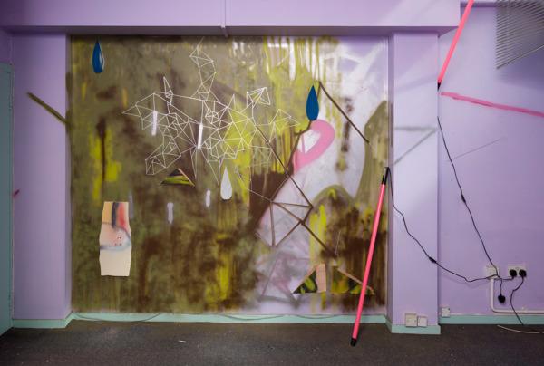 Gregor Wright, The Fourth Wall, 2014, Spray paint, polyurethane foam, wood, paint, strip light, 270 x 230 cm