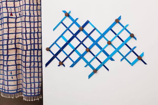 Spalla #01, 2013, Turned wood, brass, 124 x 183 x 8.5 cm