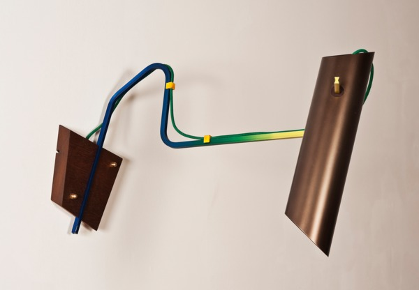 Composizioni wall light, 2013, Anodised aluminium lamp,rapid prototyped components, fabric, cable, teak, 50 x 45 x 85 cm