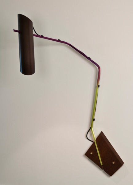 Composizioni wall light, 2013, Anodised aluminium lamp,rapid prototyped components, fabric, cable, teak, 120 x 65 x 50 cm