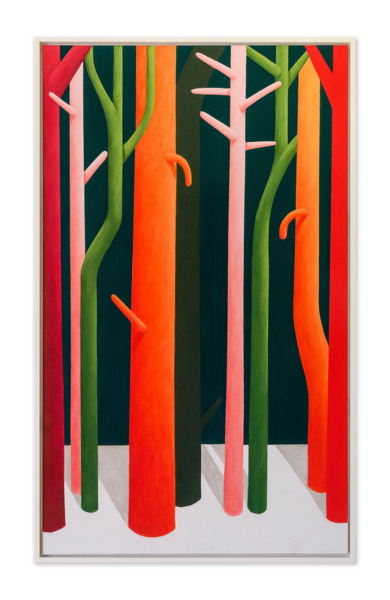 Nicolas Party, Tree Trunks, 2015, Pastel on canvas, 205.3 x 125.5 x 6.7 cm