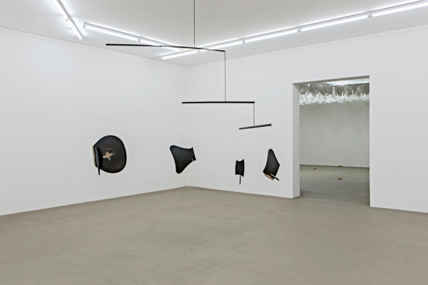 Martin Boyce, Mobile (For 1056 Endless Heights), 2002, Powder coated steel, chain, wire, altered Jacobsen Series 7 chairs, Dimensions Variable, Installation view, Museum fur Gegenwartskunst, Basel, 2015