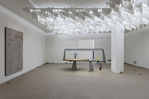 Martin Boyce, Do Words Have Voices, 2011, Powder coated aluminium, aluminium, galvanised steel, wood, electrical components, painted steel, brass, powder coated steel, fabric, Jesmonite and steel, paraffin coated crepe paper, Dimensions variable, Installation view, Museum fur Gegenwartskunst, Basel, 2015