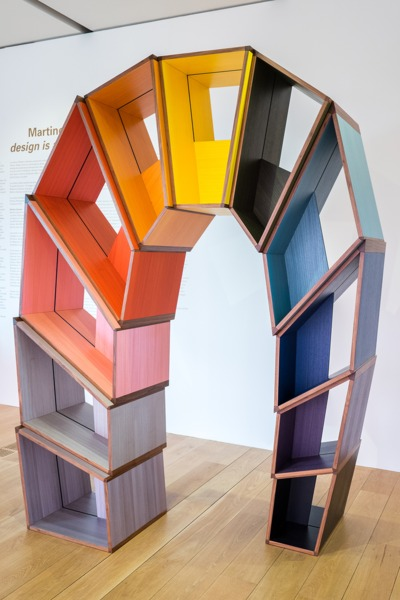Martino Gamper, L'arco della Pace, 2014, Coloured veneer, poplar plywood, 310 x 210 x 110 cm, Installation view 'design is a state of mind', Pinacoteca Giovanni e Marella Agnelli, Turin, 2014