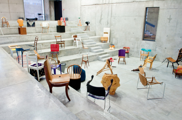 Installation view '100 Chairs en 100 Jours de 100 Maniѐres', Englise Saint-Pierre, Site Le Corbusier de Firminy, 2010