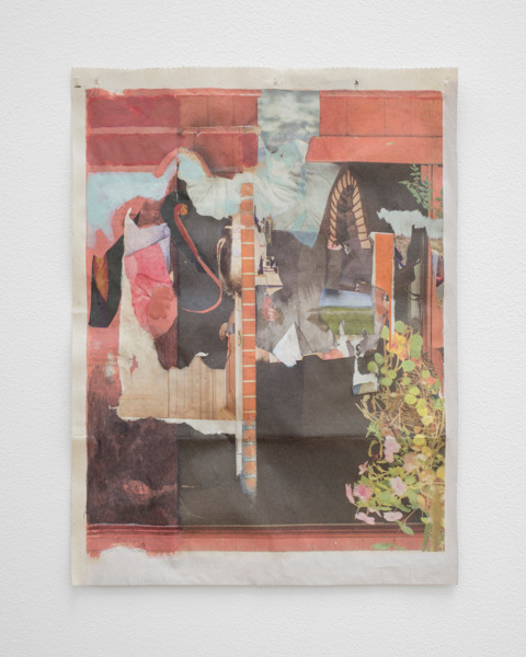 Tony Swain, Darkening island, 2015, Acrylic on pieced newspaper, 32 x 24 cm