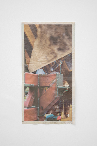 Tony Swain, The levelled storm, 2015, Acrylic on pieced newspaper, 55 x 29 cm
