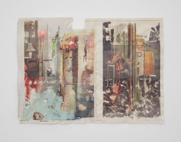 Tony Swain, Have felt half filled, 2015, Acrylic on pieced newspaper, 48 x 64 cm