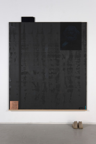 Michael Wilkinson, Black Factory, 2012, Acrylic, blackboard paint on linen with audio-tape, dyed silk brocade, lego, painted badge, copper, chalk with verdigris, black wax, desert boots, oak shelf, 192 x 174 x 7.5 cm