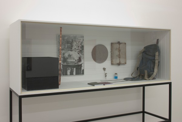 Michael Wilkinson, Vitrine 3, 2012, Vitrine contents: lego, copper, digital print, x 2 books ('Endnotes 1' and 'Endnotes 2'), honeycomb, felt, verdigris, rucksack, plant cutting, 193.5 x 232 x 65 cm