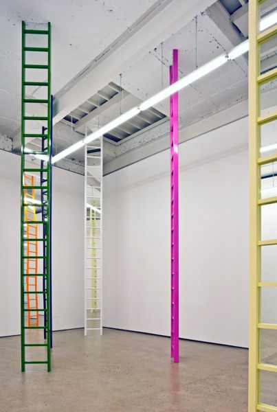Jim Lambie, Shaved Ice, 2012, Wooden ladders, mirrors, household  fluorescent paint, Dimensions variable, Installation view 'Shaved Ice', The Modern Institute, Aird's Lane, Glasgow