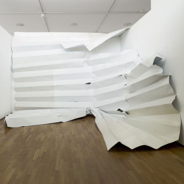 Katja Strunz, Einfalt der Vier, 2010, Steel, wood, paint, 431 x 560 x 560 cm