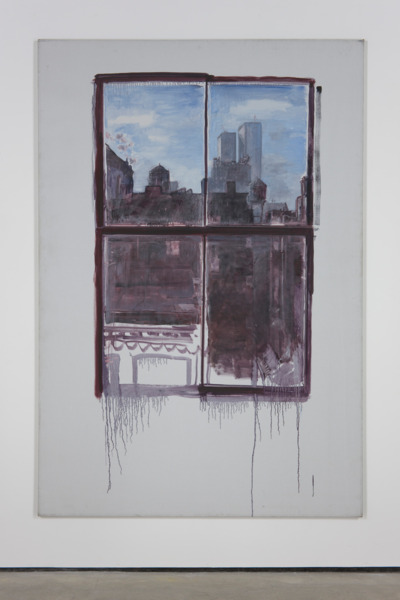 Paul Thek, Untitled (cityscape with twin towers), 1972, Acrylic on canvas, 241.5 x 165 cm