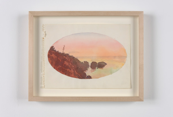 Paul Thek, Untitled (oval landscape), 1970, Watercolor and coloured pencil on paper, 18 x 24 cm