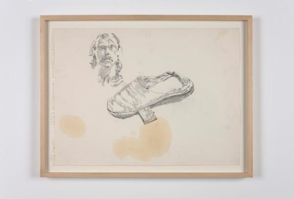 Paul Thek, Untitled (self-portrait and shoe), 1970, Pencil on paper, 36 x 48.5 cm