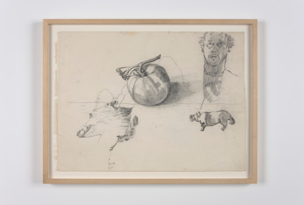 Paul Thek, Untitled (self-portrait, tomato, hippo), 1970, Pencil on paper, 36 x 48.5 cm