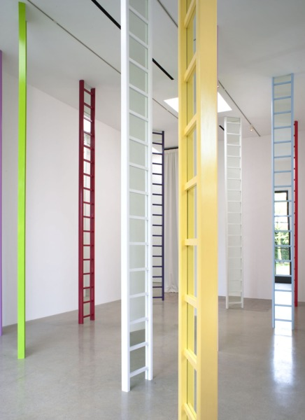 Jim Lambie, Shaved Ice (LA), 2014, Wooden ladders, mirrors, household paint, Dimensions variable