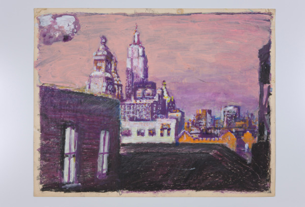 Paul Thek, Untitled (cityscape), 1987, Watercolor and crayon on paper, 48.3 x 63.5 cm