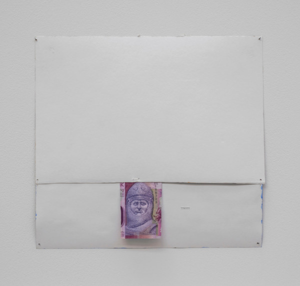 Andrew Kerr, Wittgenstein, 2014, Acrylic, paper, £20 note, printed text and stitching, 29.5 x 18 x 2.5 cm