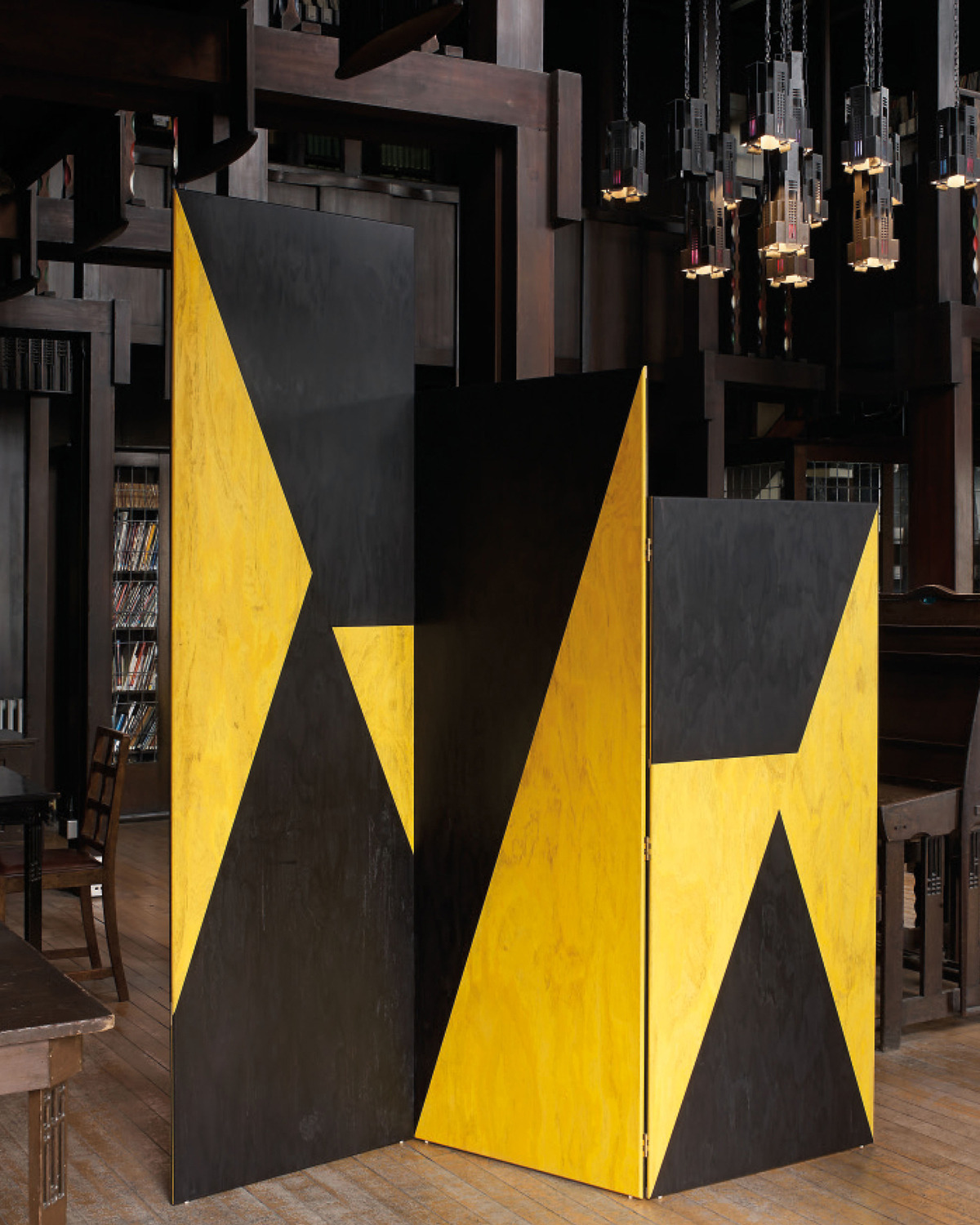 Martino Gamper, Yellow Meets Black Paravent, 2013, Coloured plywood, 228 x 213 x 2 cm, Installation view, Mackintosh Building, Glasgow School of Art, 2014