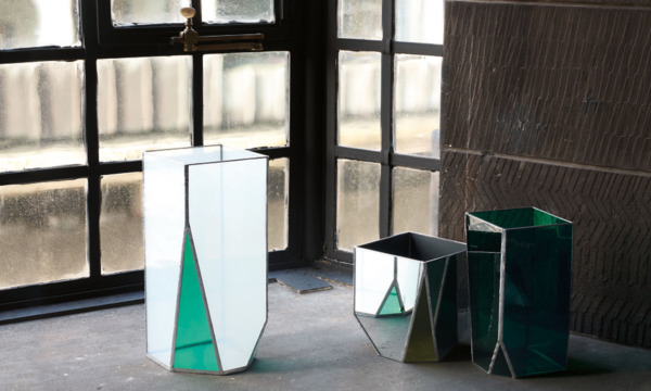 Martino Gamper, Off Cut Lead Glass Vases  #01 - 03, 2013, Glass, mirror, lead, Dimensions variable, Installation view, Mackintosh Building, Glasgow School of Art, 2014