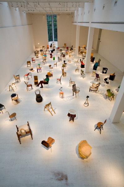 Installation view '100 Chairs in 100 Days', Triennale Design Museum, Milan, 2009