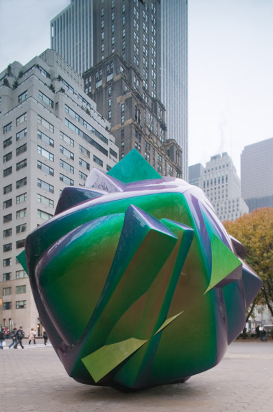 Liz Larner, 2001, 2001, Fiberglass, stainless steel and automotive paint, 365.8 x 365.8 x 365.8 cm, Edition of 3, Installation view 'Liz Larner: 2001', presented by Public Art Fund, Doris C. Freedman Plaza in Central Park, New York, 2006