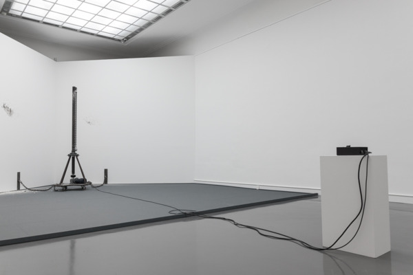 Liz Larner, Corner Basher, 1988, Steel, stainless steel, electric motor with speed-control mechanism, 306 × 94 cm, Installation view  'Auf Zeit', Staatliche Kunsthalle, Baden-Baden, 2013