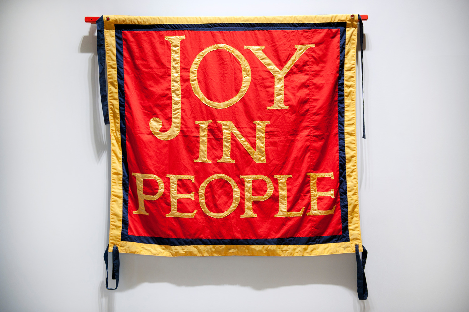 Joy In People, 2011, Cotton drill, banner made by Ed Hall, 200 x 201 x 3 cm