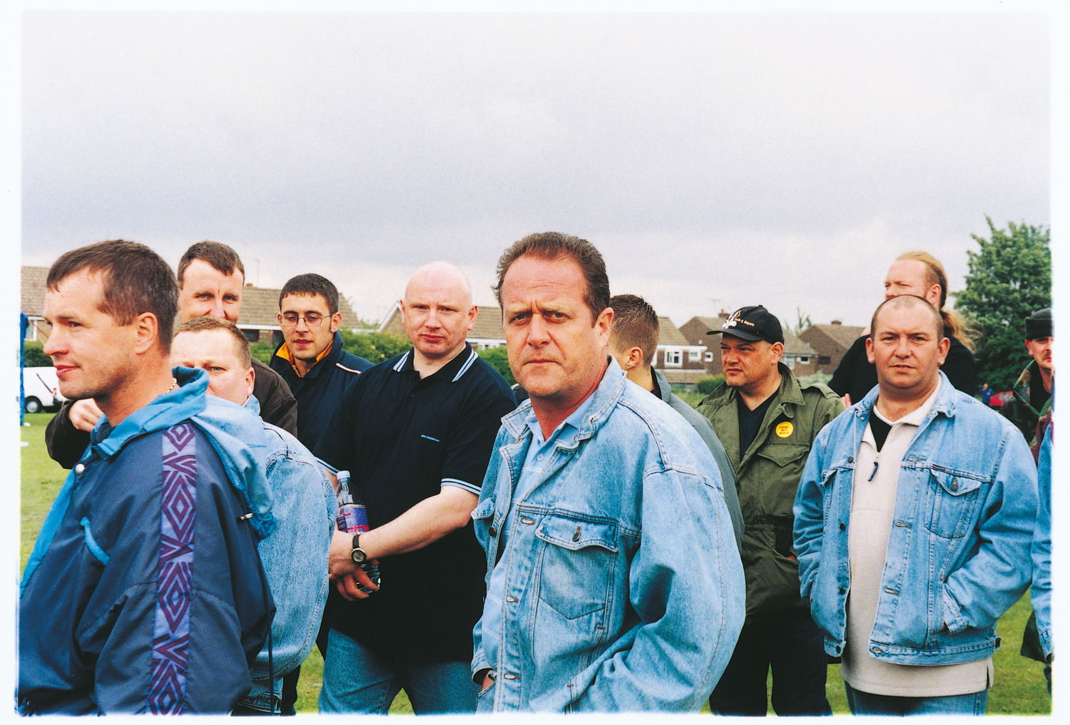 The Battle of Orgreave, 2001. Participating former miners and their sons on the day of the performance.
