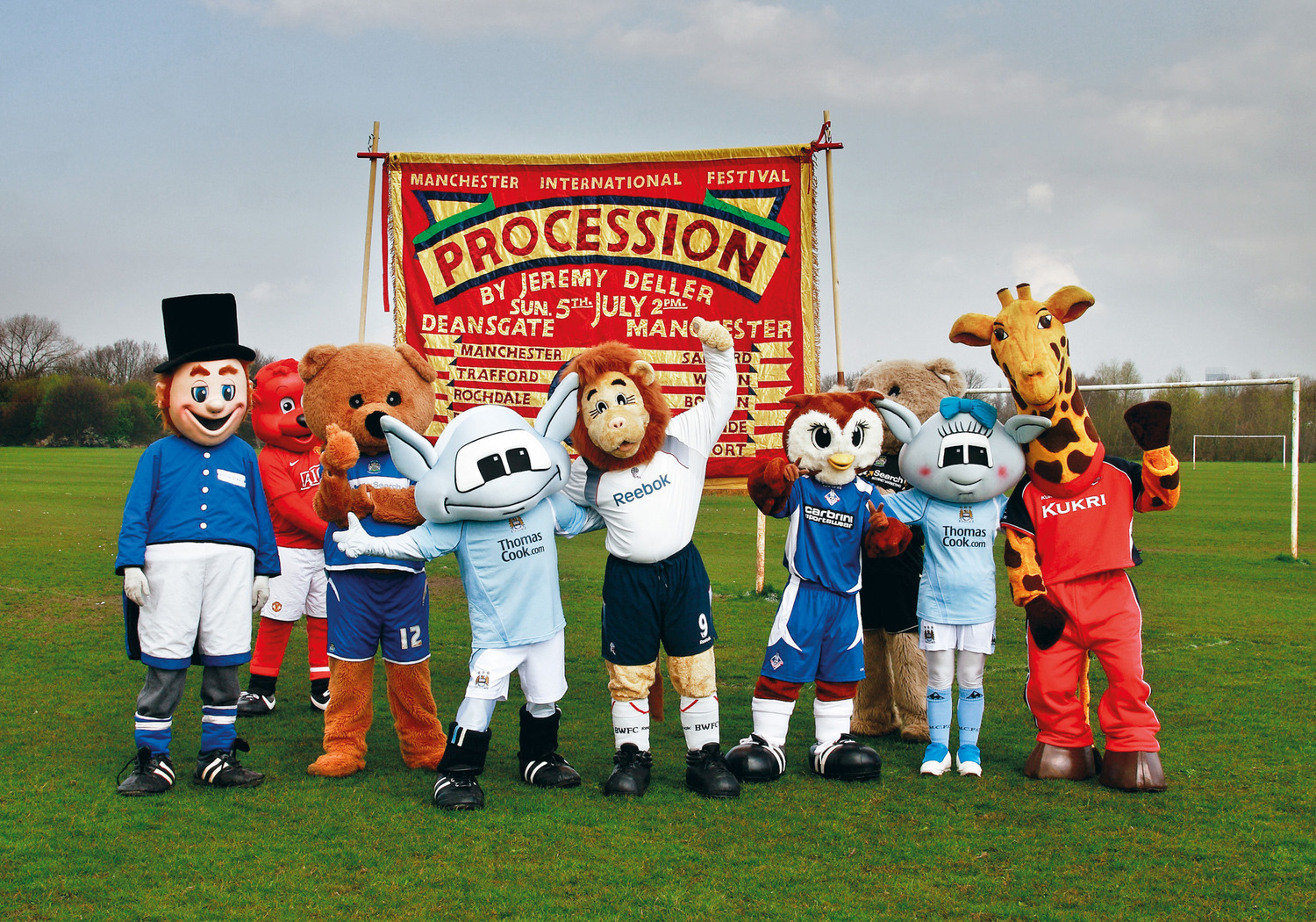 Procession, 2009. Publicity shot with Mancunian sports mascots.