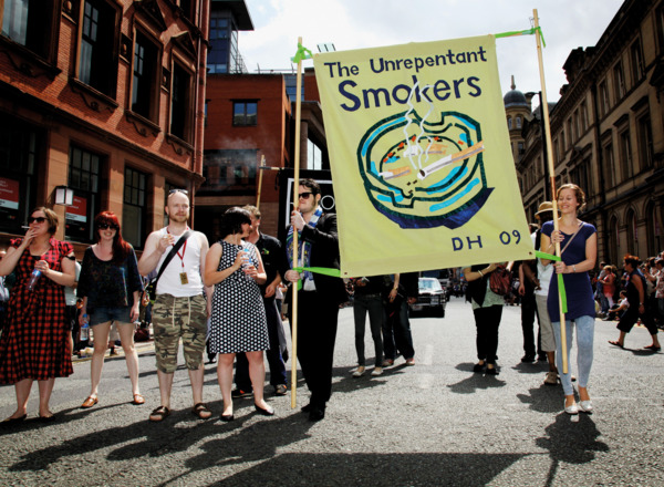 Procession, 2009. The 'Unrepentant Smokers' with a banner designed by David Hockney and made by Ed Hall.