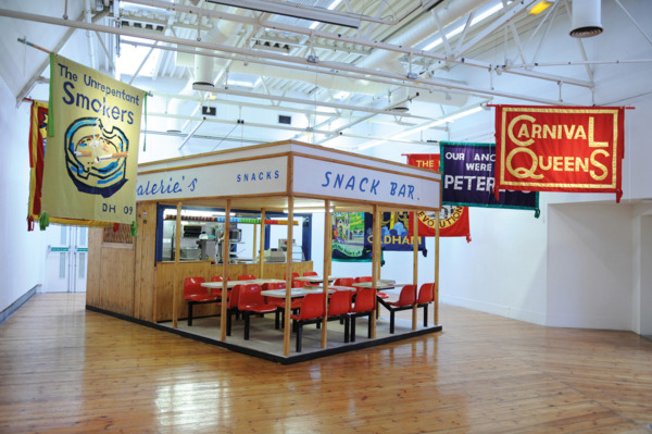 Valerie's Snack Bar, 2009. Installation at Cornerhouse, Manchester with banners by Ed Hall.
