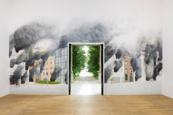 Jeremy Deller, St Helier on Fire, 2013, Wall painting by Stuart Sam Hughes, Banners based on diagrams of tax avoidance schemes from the St Helier 2017 demonstration,, Banners made by Ed Hall, Banners 213 x 152 cm each, Wall painting 500 x 950 cm