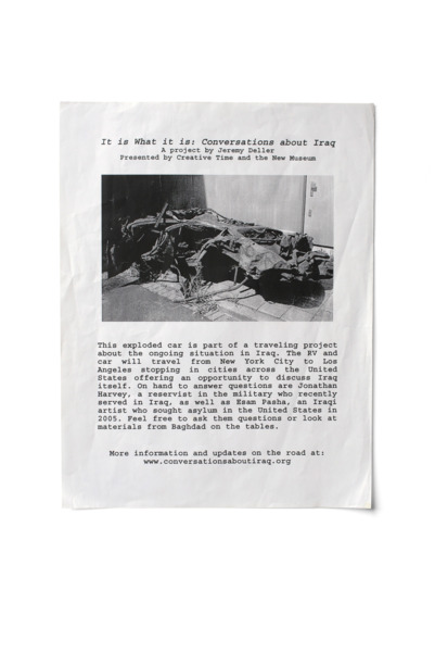 It Is What It Is, 2009. Flyer given to members of the public during the destroyed car's 'tour' across the US.