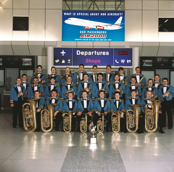 Acid Brass, 1997. William Fairey Band at Machester Airport.