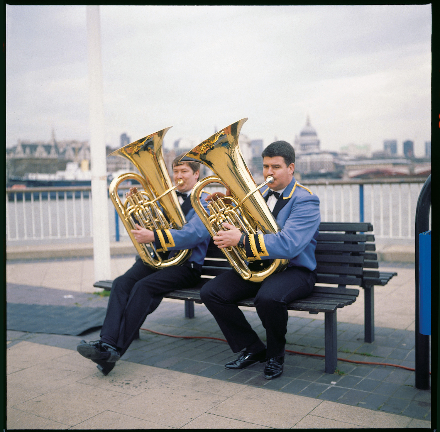 Acid Brass, 1997. Band members warming up on the Southbank, London, before appearing on 'The Richard and Judy Show.'