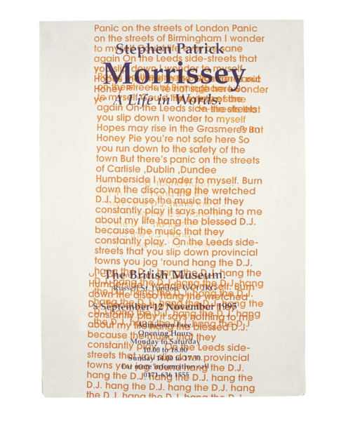 Jeremy Deller, Morrissey: A Life in Words, 1995, Silkscreen on paper, 64 x 45 cm, Edition of 3 + 2 AP
