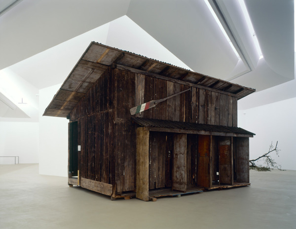 Simon Starling, Shedboatshed (Mobile Architecture No. 2), 2005, Wooden shed, 390 x 600 x 340 cm