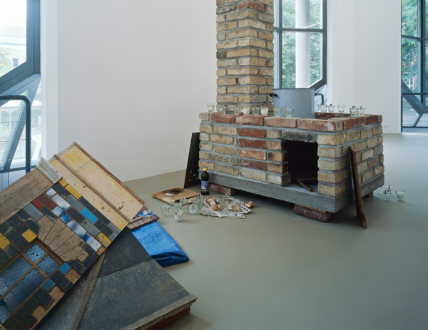 Simon Starling, Burn Time, 2000 (detail), Hen house, brick stove, eggs, egg cookers, cooking pot, saw, tarpaulin, Dimensions Variable