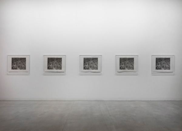 Simon Starling, One Ton, II, 2005, 5 handmade platinum/palladium prints of the Anglo American Platinum Corporation mine at Potgieterus, South Africa, produced using as many platinum group metal salts as can be derived from one ton of ore, 85 x 65 cm each