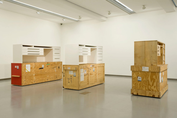 Simon Starling, Three White Desks, 2008 - 2009, A copy of a writing desk designed by Francis Bacon for Patrick White (circa 1932) built in Berlin, Germany by the cabinetmaker Uwe Küttner with reference to a 30 megabyte scan of a vintage print from the National Library of Canberra, Austarlia., A copy of a copy of a writing desk designed by Francis Bacon for Patrick White (circa 1932) built in Sydney, Australia by the cabinetmaker Charmian Watts with reference to an 84 kilobyte jpeg made and transmitted with a mobile phone by Uwe Küttner, Berlin. A copy of a copy of a copy of a writing desk designed by Francis Bacon for Patrick White (circa 1932), built in London, England by the cabinetmaker George Gold with reference to a 100 kilobyte jpeg transmitted in an email by Charmian Watts, Sydney., Dimensions variable